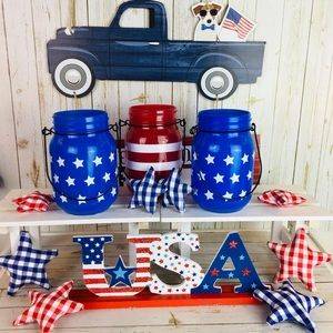 Three Patriotic Home Decor Jars